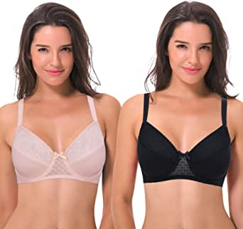 Curve Muse Plus Size Minimizer Underwire Full Figure Bra with Lace Lining-3Pack