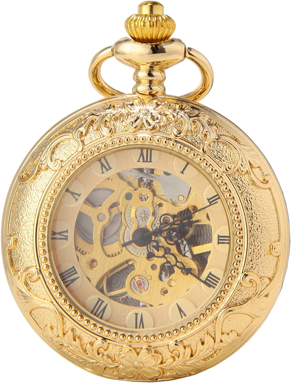 SEWOR Vestido Doble Abierta mecánico Mano Viento Reloj de Bolsillo + Banda Piel Caja de Regalo
