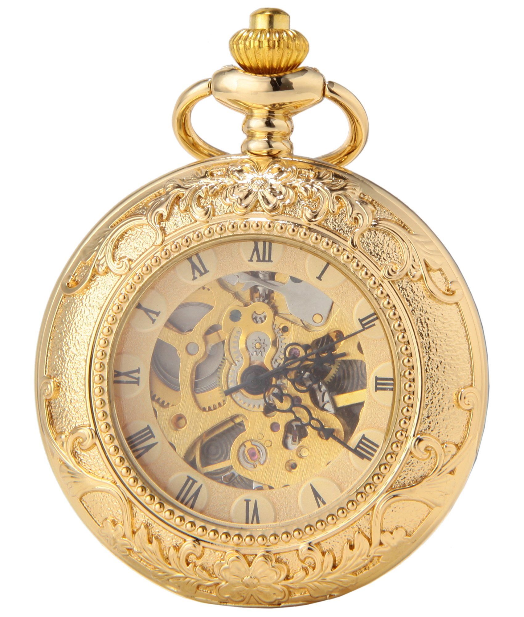 SEWOR Business Double Open Skeleton Pocket Watch Mechanical Hand Wind Movement Full Hunter Gift (Gold Magnifier)