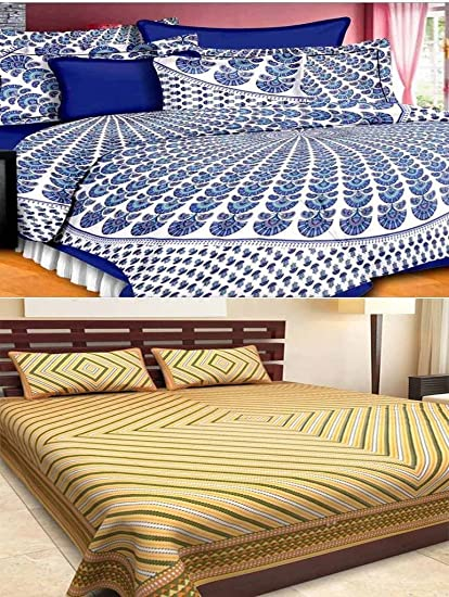 5a89516ac037ae Bed Zone Bedsheet Combo Offer 100% Cotton Rajasthani Sanganeri 2 Double  Bedsheet with 4 Pillow Cover(Combo)  Amazon.in  Home   Kitchen