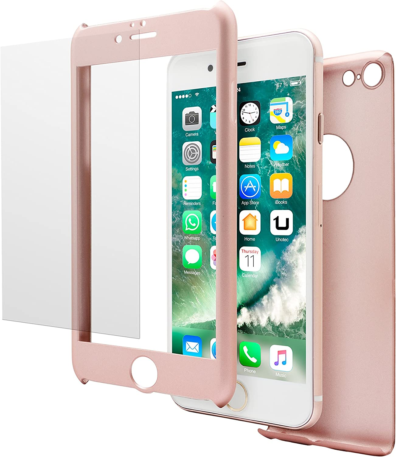 Unotec Carcasa 2 Piezas Pack Full Protect iPhone 7 Rosa: Amazon.es: Electrónica