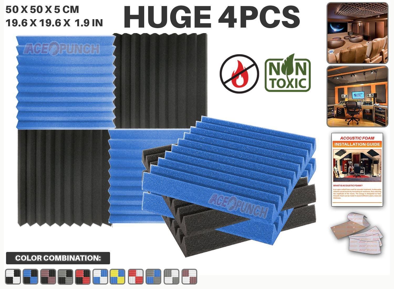 Ace Punch 4 piezas AZUL y NEGRO Combinazione di Colori Cuña Studio Foam Panel Aislamiento Acústico Tratamiento Espuma Acústica con lengüetas de montaje ...