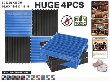 Ace Punch 4 piezas AZUL y NEGRO Combinazione di Colori Cuña Studio Foam Panel Aislamiento Acústico