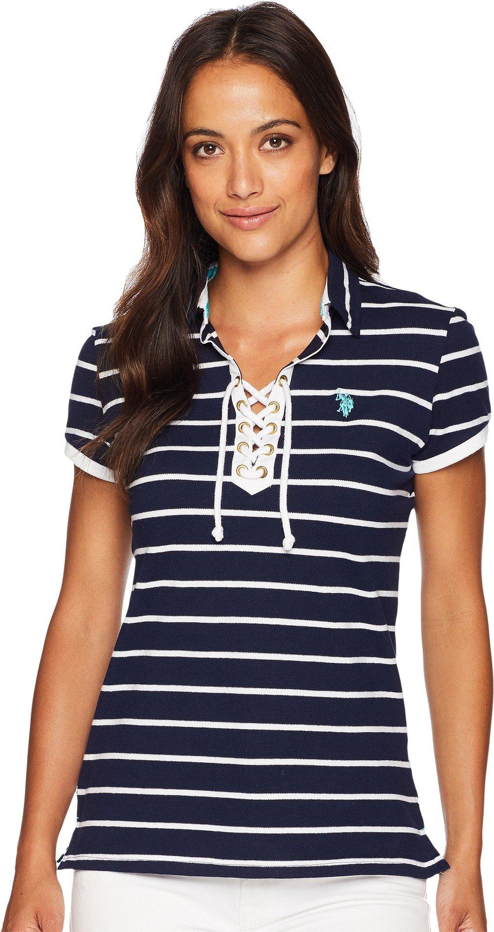 U.S. Polo Assn. Women's Laceup Striped Pique Shirt, Tribal Navy, M