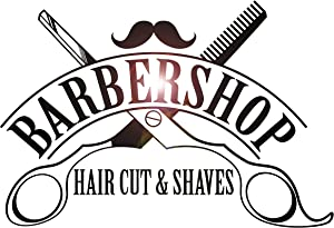 Large Vinyl Wall Decal Barbershop Hair Cut Shaves Scissors Stickers Mural Large Decor (ig4394) Black 22.5 in X 33 in