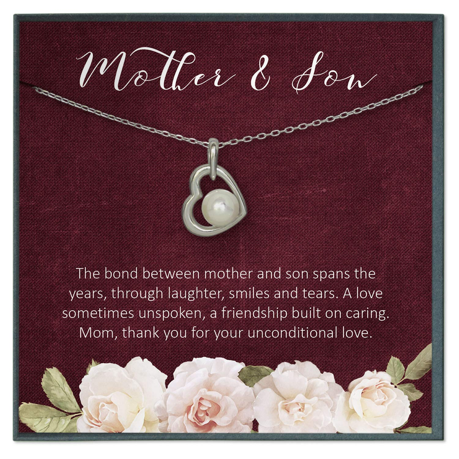 Amazon.com: Grace of Pearl Mother Son Necklace for Mom ...