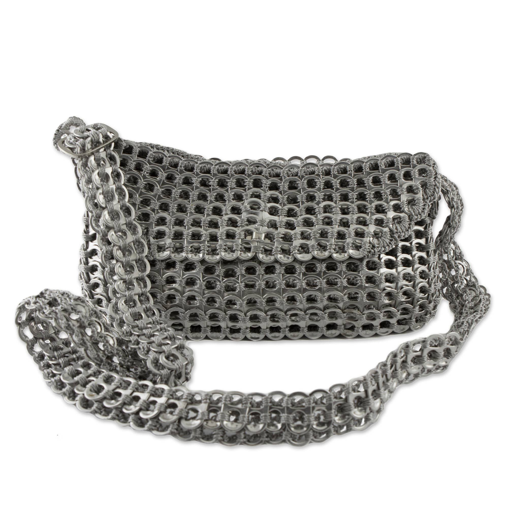 NOVICA Metallic Recycled Aluminum Shoulder Bags, 'Chain Mail Elegance'