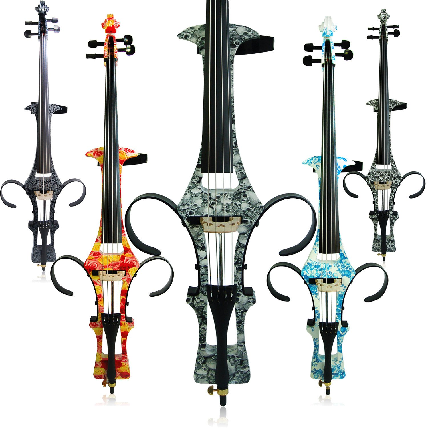 Aliyes Handmade Professional Solid Wood Electric Cello 4/4 Full Size Silent Electric Cello-Skull