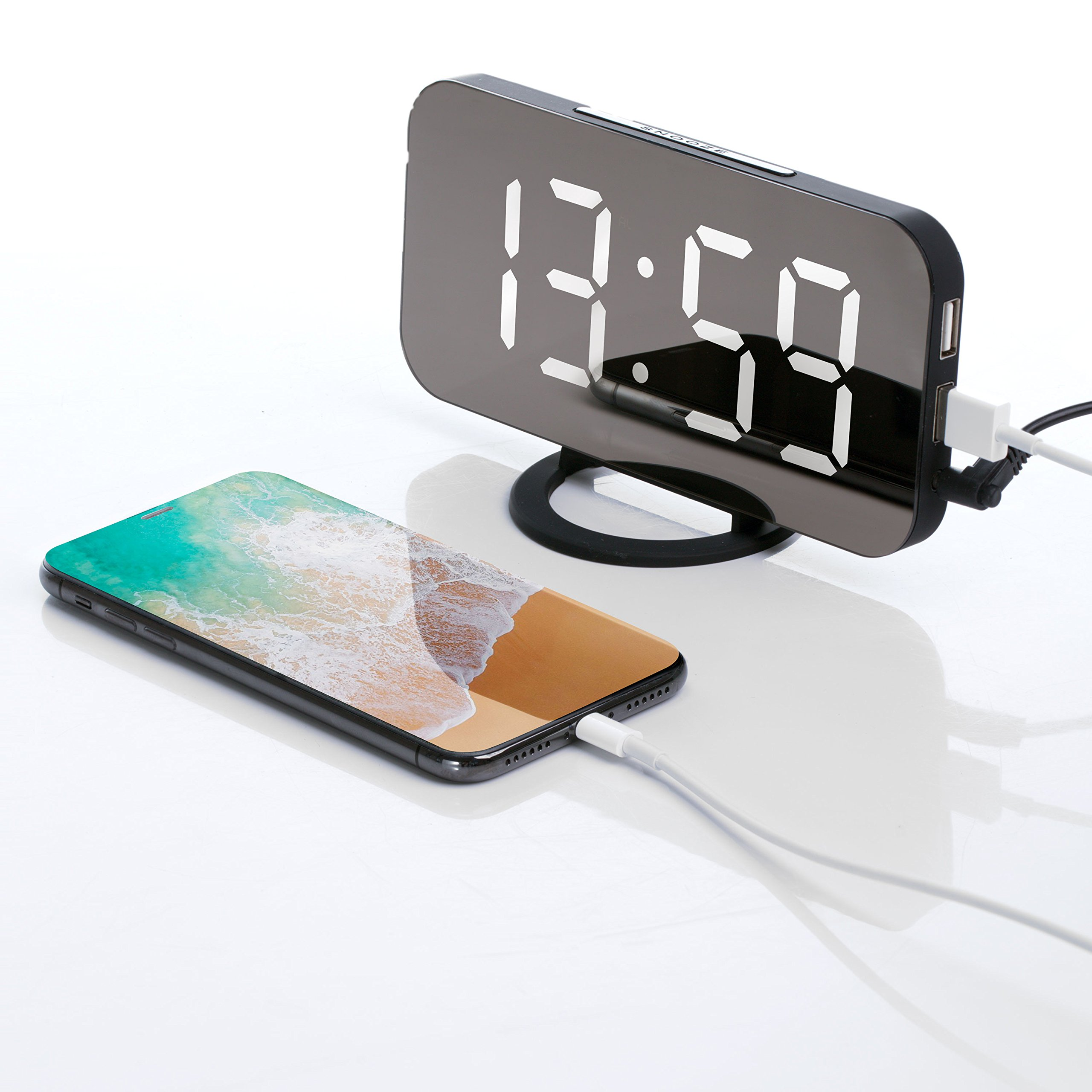 Digital alarm clock - stylish led clock with the USB port, a huge display, adjustment of display's brightness, the function of saving the configuration