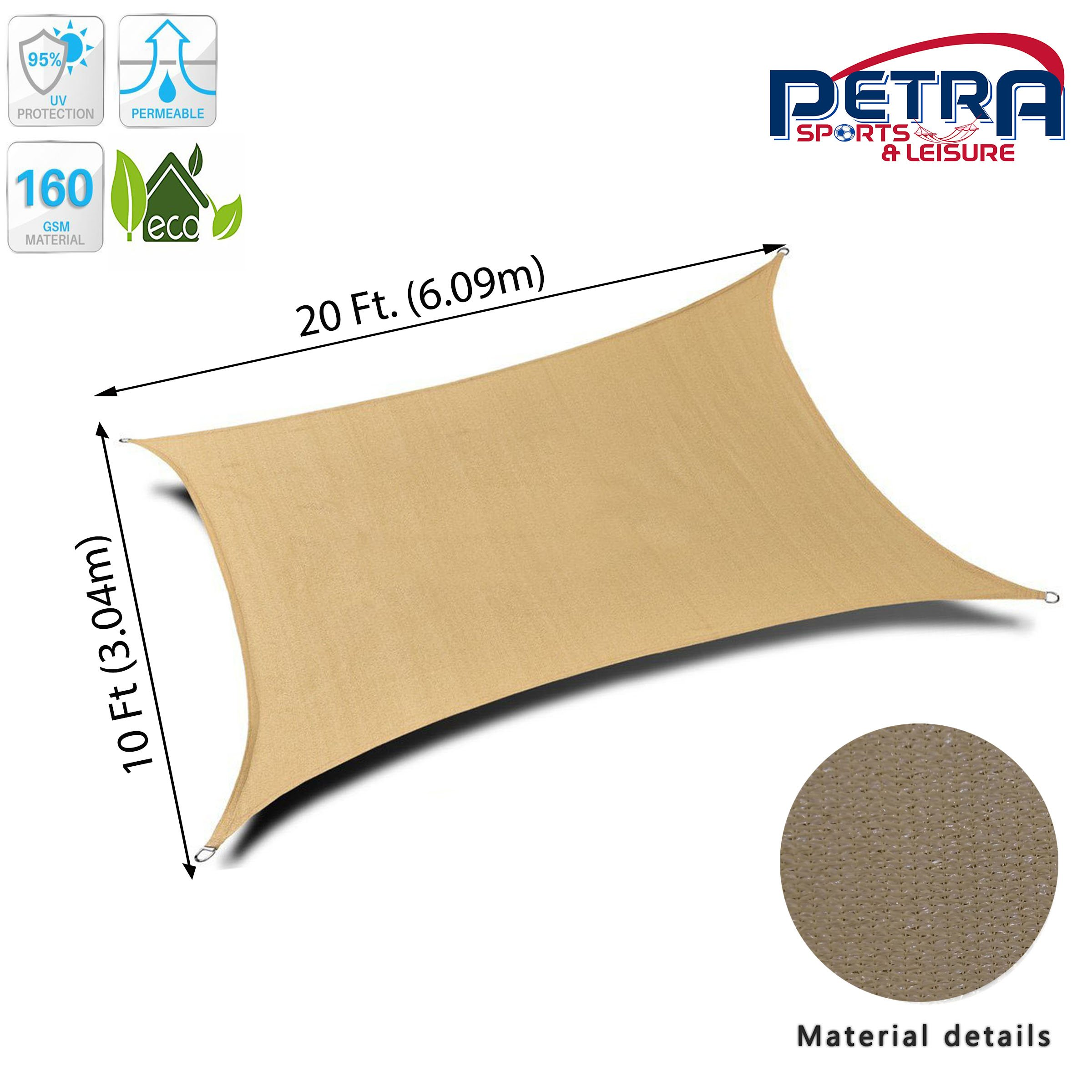 Petra's 20 Ft. X 10 Ft. Rectangle Sun Sail Shade. Durable Woven Outdoor Patio Fabric w/Up to 90% UV Protection. 20x10 Foot. (Desert Sand)