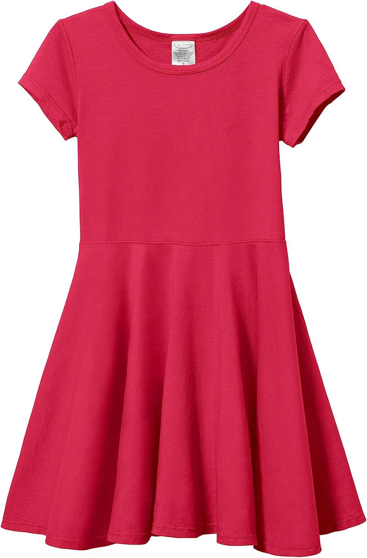 City Threads Girls' Cotton Short Sleeve Skater Party Twirly Dress