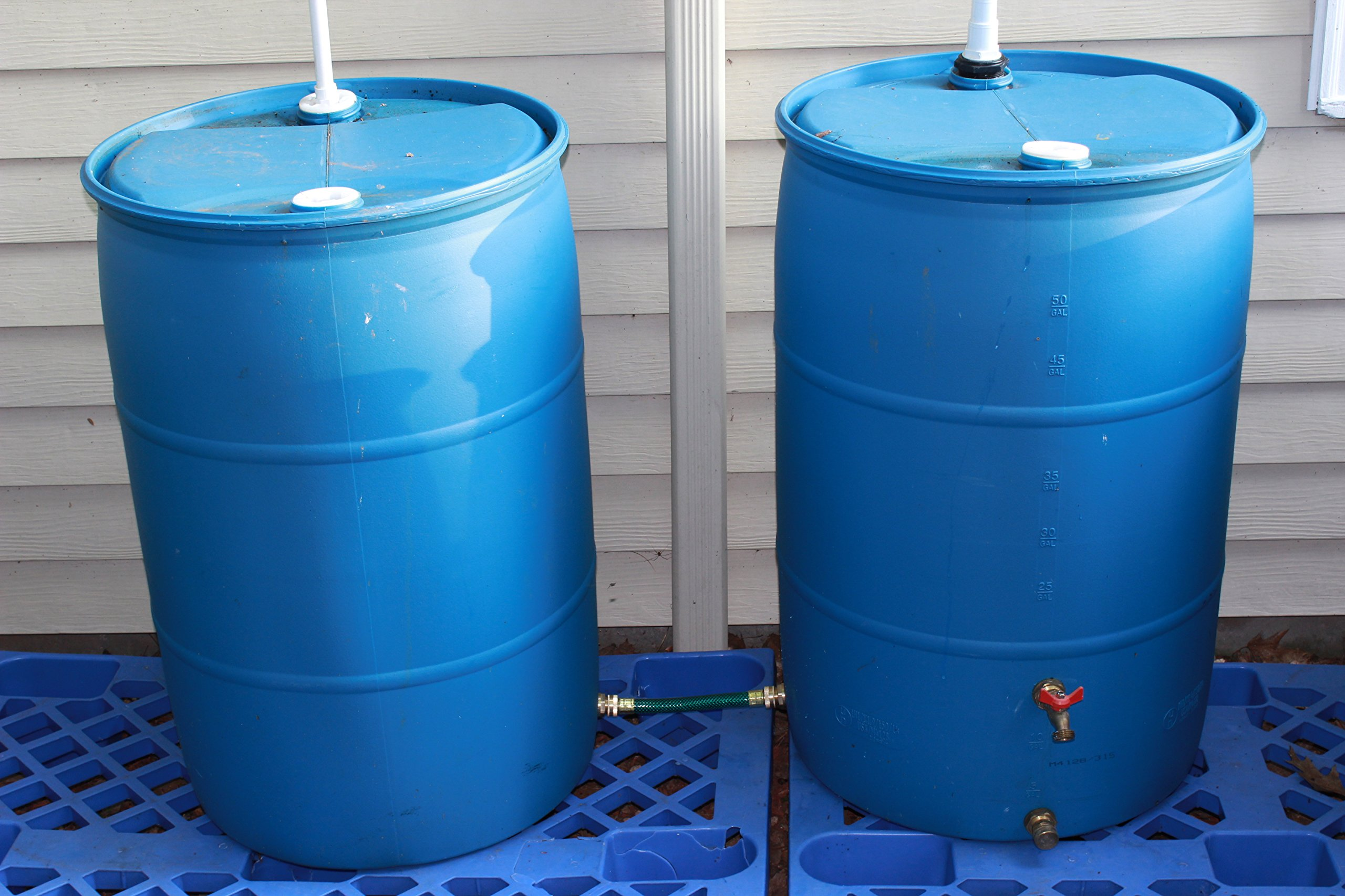 RAINPAL Rain Barrel Linking//Link//Connector Kit Two Brass Bulkhead Tank Fittings