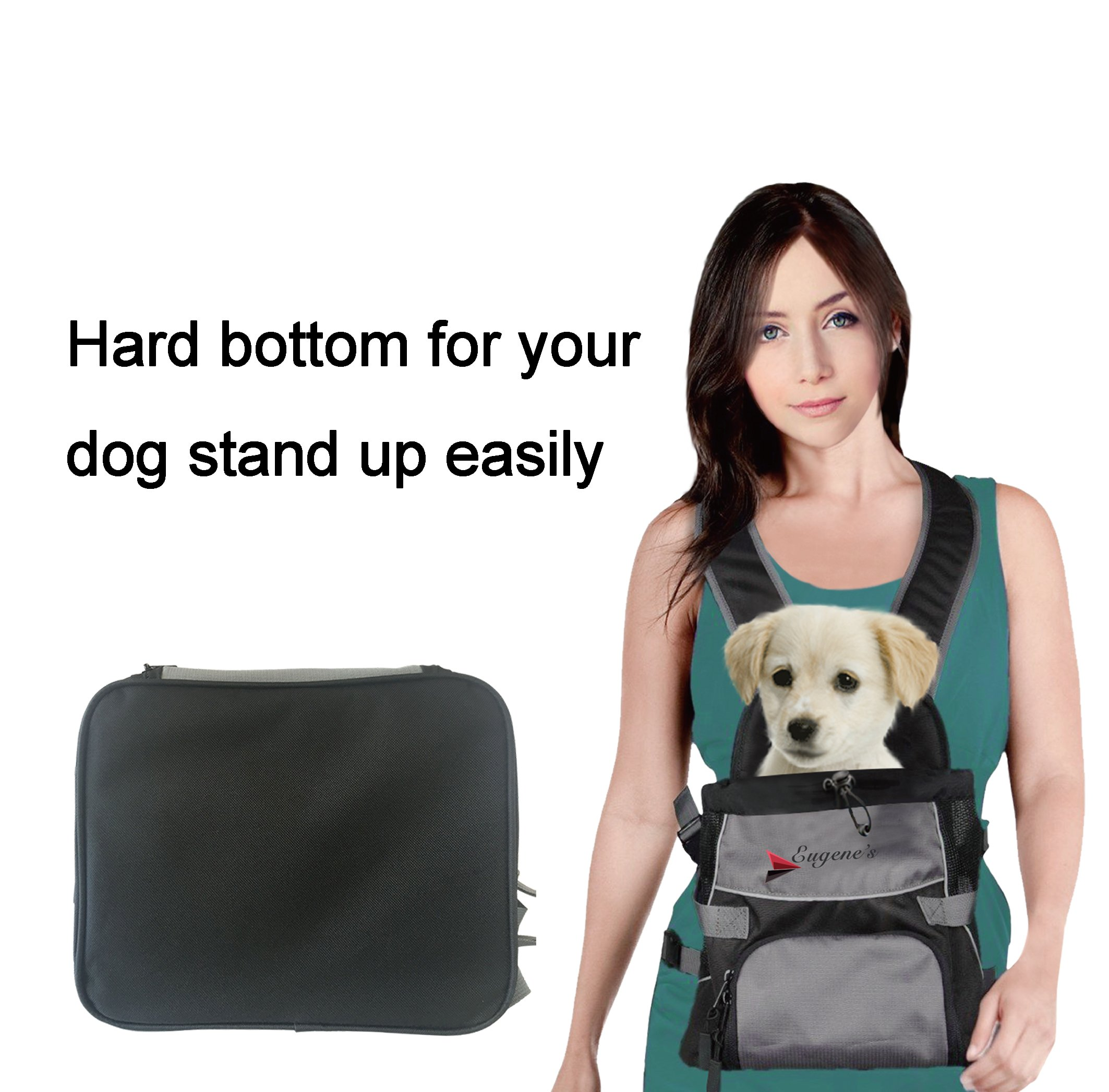 Front Dog Cat Pet Carrier, Dog Backpack Bag by Eugene's. Free Your Hands. Use as: Dog Carrier, Cat Carrier, Carrier For Small pets. New Generation of Dog Carriers. for your pets up to 16 lbs.