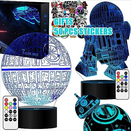 LED-Nachtlicht//Schreibtischlampe mit USB-Kabel in 7 Farben Death Star DS-1-Plattform