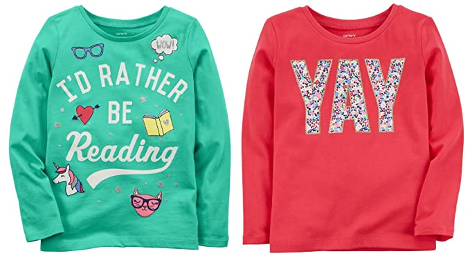 31c23f542e9a Carter's Toddler Little and Big Girls Set Of 2 Long Sleeve Cotton Graphic  Tee Shirts (