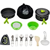 Camping Rockers 15PCs Camping Cookware Mess Kit - Durable Pot Pan Bowls & Folding Knife, Nylon Bag- Lightweight Set for Backpacking, Hiking Outdoors - Non-stick Aluminum Cookset & Utensils for Picnic
