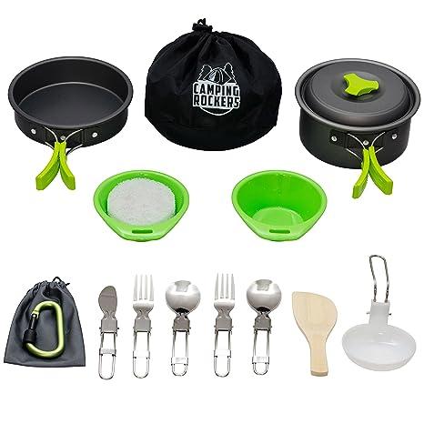 2fee72758c0 CampingRockers 15PCs Camping Cookware Mess Kit - Durable Pot Pan Bowls    Folding Knife