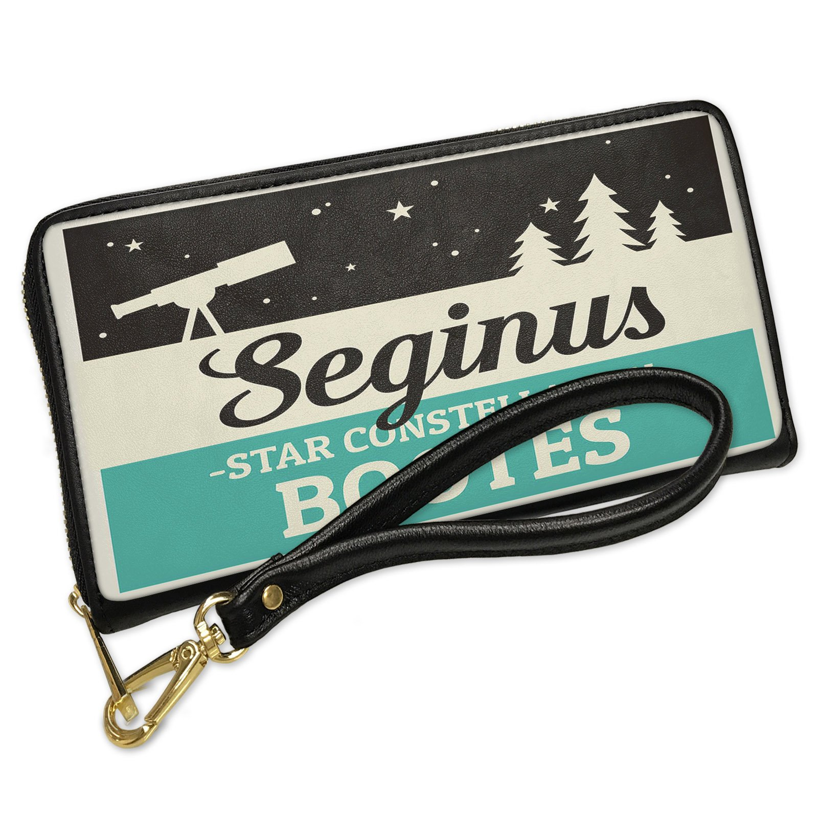 Wallet Clutch Star Constellation Name Bootes - Seginus with Removable Wristlet Strap Neonblond