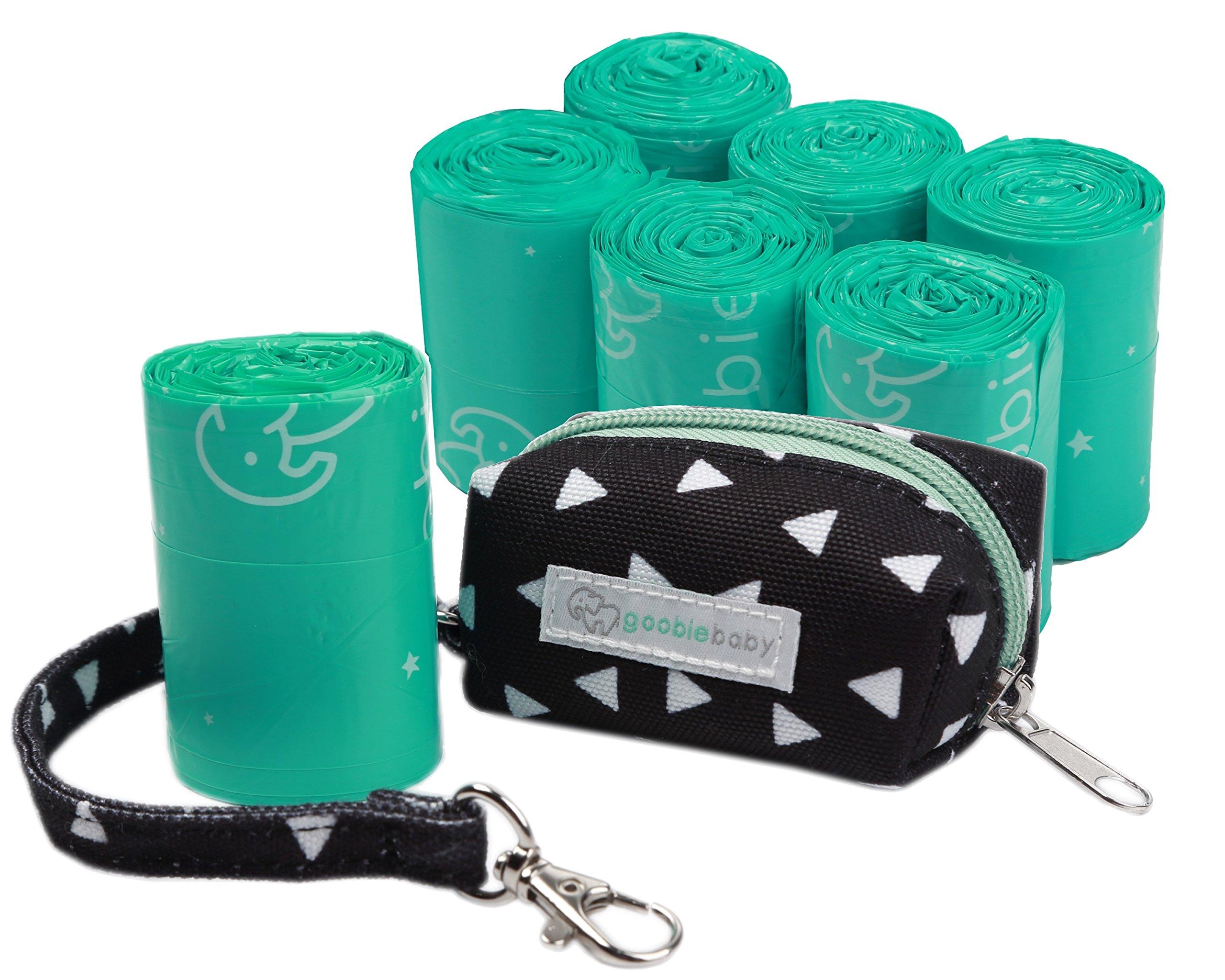 Goobie Baby Diaper Bag Dispenser, Includes Roll of Unscented Disposable Refill Bags | Waste Bag Holder for Stroller (Black Triangle Dispenser + 6 Refill Rolls)