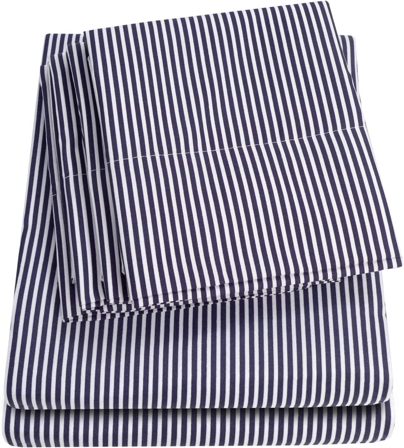 Full Size Bed Sheets - 6 Piece 1500 Thread Count Fine Brushed Microfiber Deep Pocket Full Sheet Set Bedding - 2 Extra Pillow Cases, Great Value, Full, Classic Stripe Navy