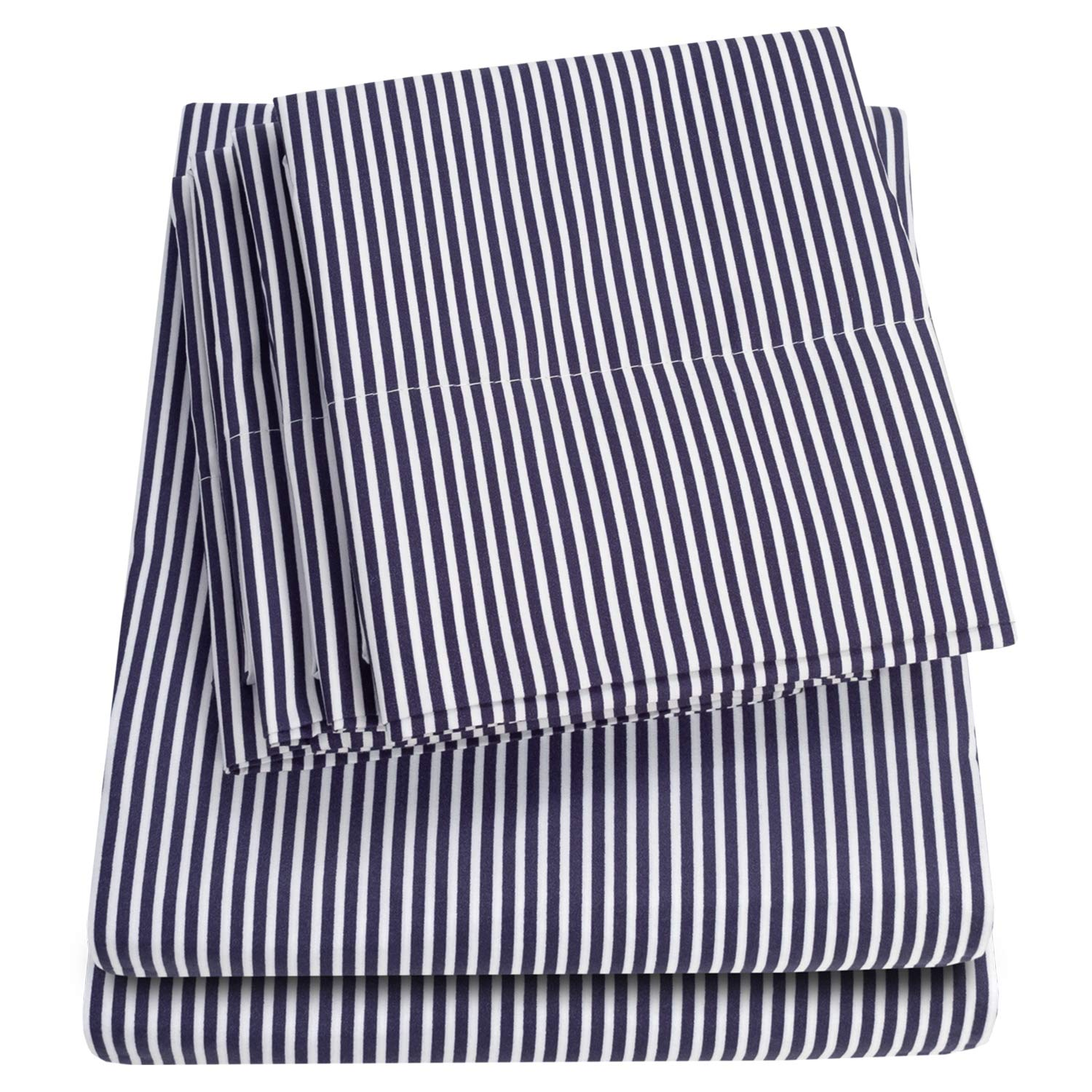 Sweet Home Collection Sheets 6 Piece 1500 Thread Count Deep Pocket Hypoallergenic Brushed Microfiber Soft and Comfortable Bedding Set, Queen, Classic Stripe Navy,