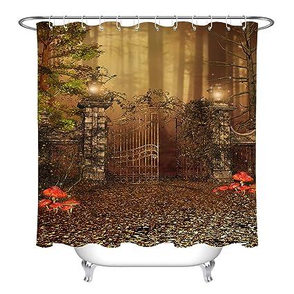 LB Halloween Shower Curtain Set Ruined Yard Door Autumn Leaves Wild Mushroom Bathroom CurtainBath