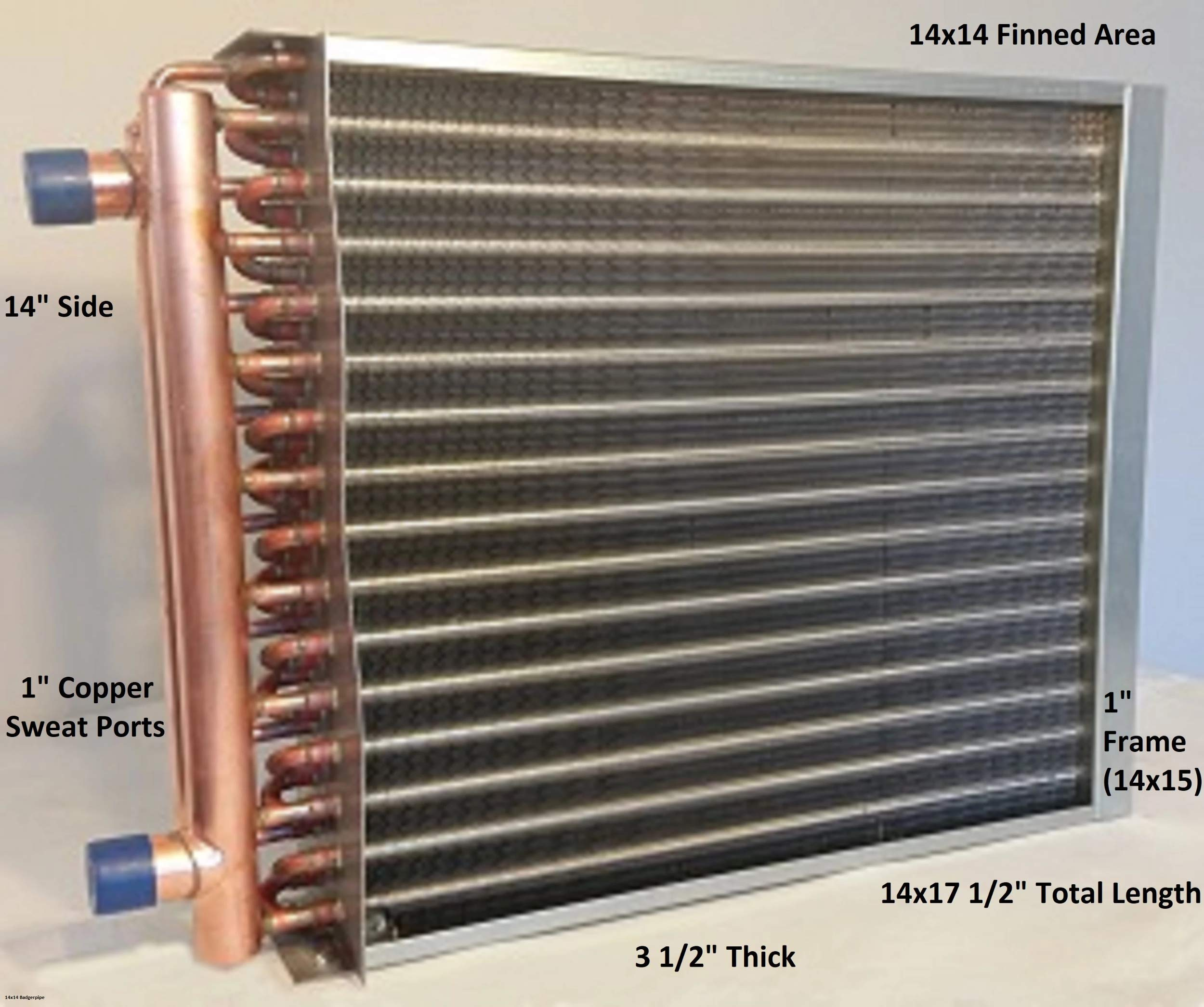 14x14 Water to Air Heat Exchanger~1'' Copper Ports w/EZ Install Front Flange