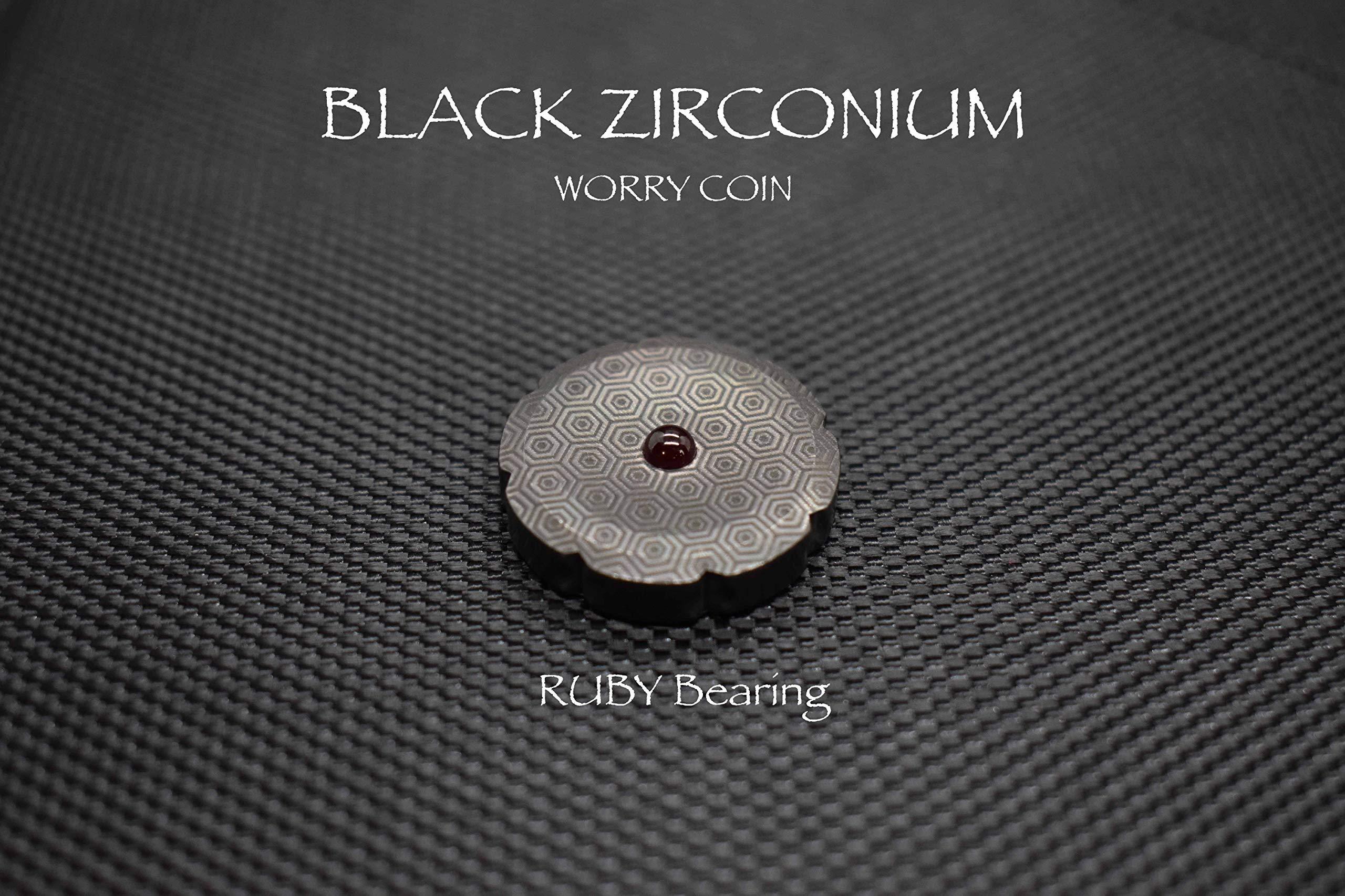 MetonBoss Worry Coin Black Zirconium & Ruby Bearing | Everyday Carry Gear | Precision-Made and Desktop Display