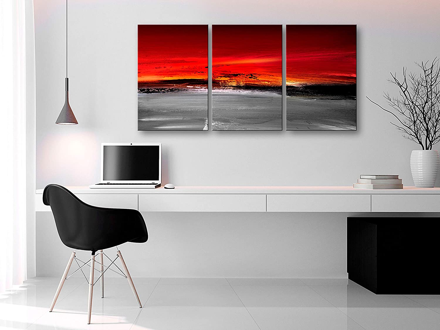Photo Like Painted Blue Brown f-A-0735-b-e Wall Art Print Picture murando Image Abstract 60x30 cm 3 Pieces Image Printed on Non Woven Canvas