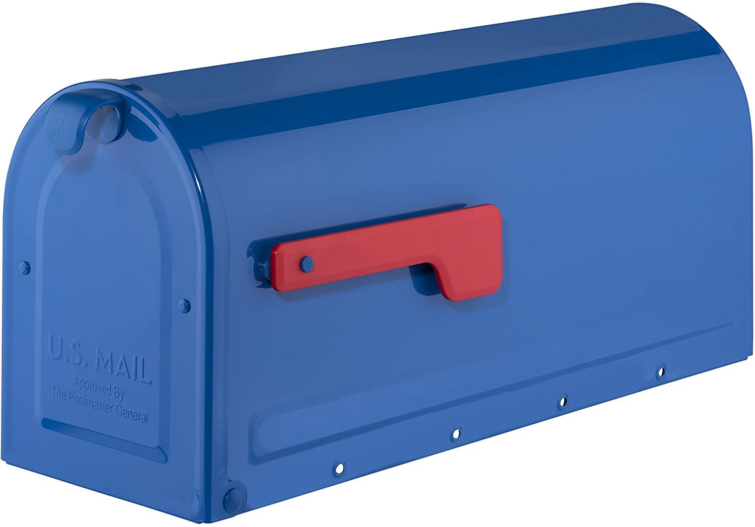 Architectural Mailboxes 7600BE Blue with Red Flag MB1 Post Mount Mailbox, Medium