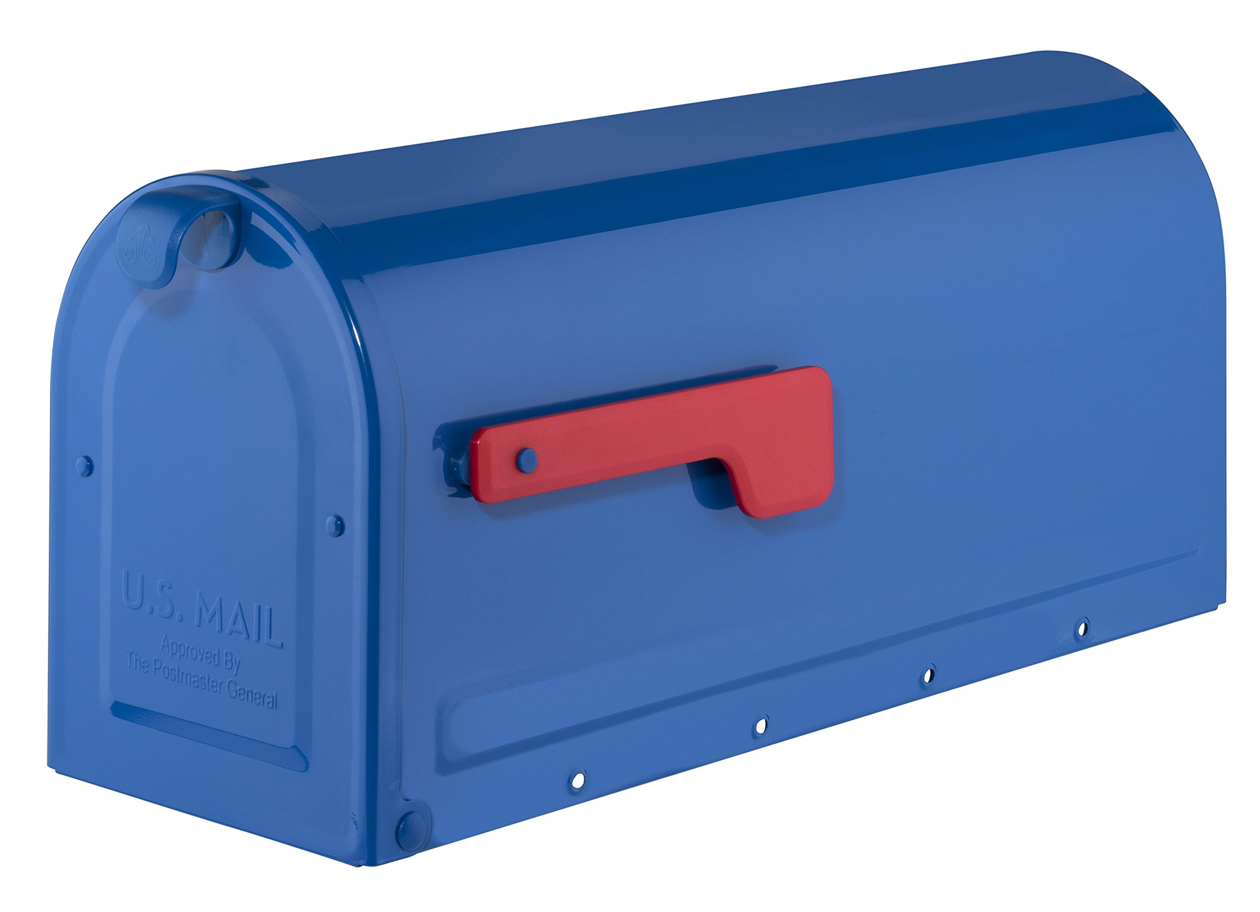 Architectural Mailboxes 7600BE MB1 Post Mount Mailbox Blue with Red Flag MB1 Post Mount Mailbox, Medium