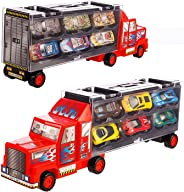 Tuko Car Toys Die Cast Carrier Truck Vehicles Toy for 3-12 Years Old Boy Girl Toy Gift(Includes 6 Alloy Cars,3 Animal Cars,3