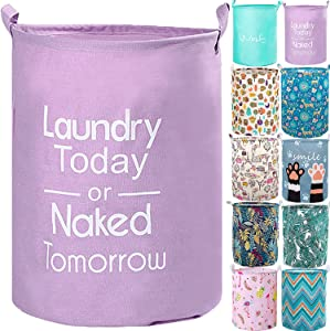 """YOMFUN 17.7"""" Kids Laundry Basket for Baby Girls,Waterproof Cute Laundry Hamper for Teen Girls Dirty Clothes Hamper,CollapsibleLaundryHamper for Books,Toys (Purple,M)"""