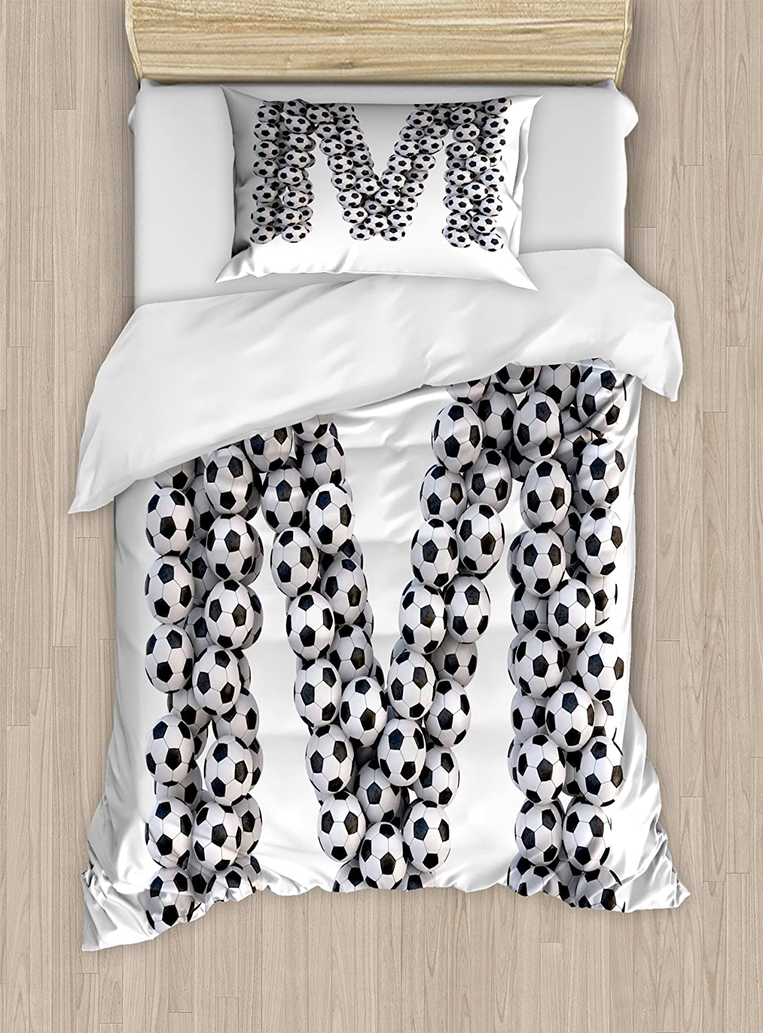 Ambesonne Letter M Duvet Cover Set, Diagonal and Vertical Stack of Soccer Balls Alphabet Letter Design, Decorative 2 Piece Bedding Set with 1 Pillow Sham, Twin Size, Black and White
