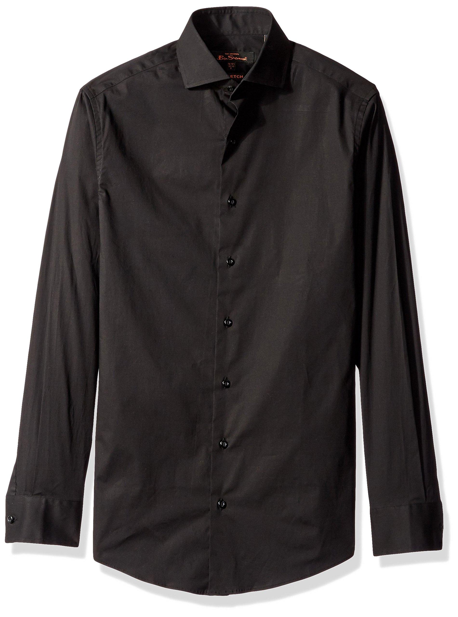 Ben Sherman Men's Solid Stretch Poplin Dress Shirt, Black, 14''-14.5'' Neck 32''-33'' Sleeve by Ben Sherman