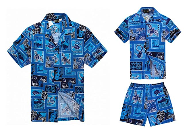 b4a0b9355 Matching Father Son Hawaiian Luau Outfit Men Shirt Boy Shirt Shorts Blue  Patchwork: Amazon.co.uk: Clothing