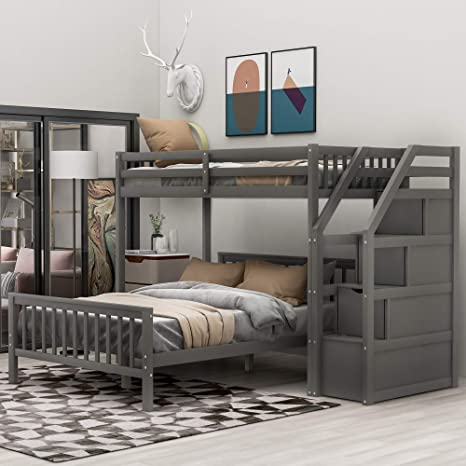 Amazon Com Twin Over Full Bunk Bed For Kids Wood L Shaped Twin Loft With Storage And Full Platform Bed For Kids Grey Kitchen Dining
