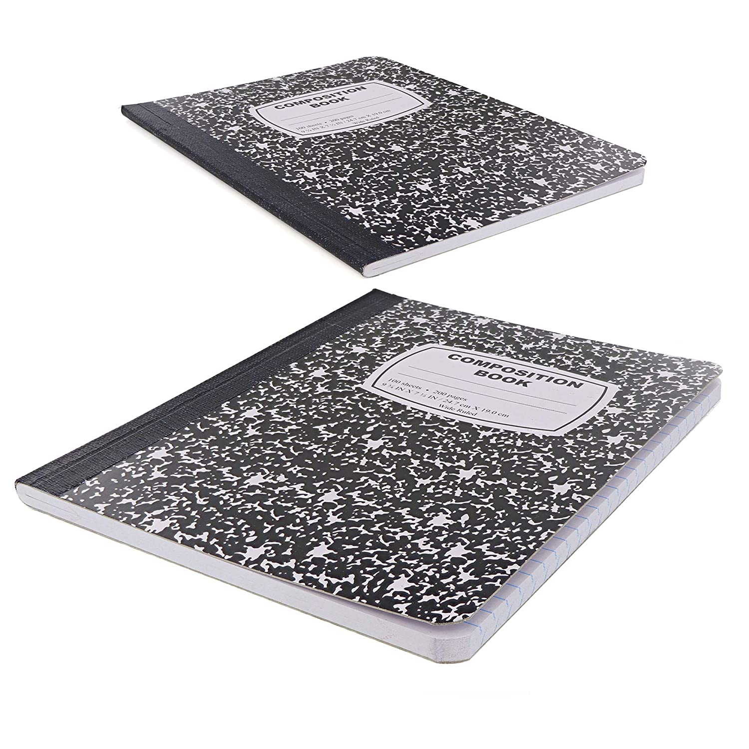 Emraw Composition Books Black /& White Marble Style Durable Cover Notebooks Wide Ruled Ruled Paper 100 Sheets Writing Book for school and journaling Pack of 2
