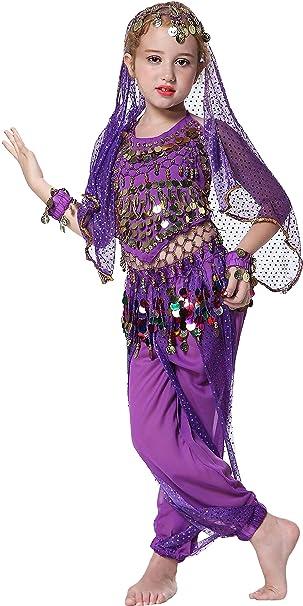 Halloween Costumes For Kids Girls 9.Seawhisper Girls Belly Dancer Costume Halloween Outfit For Kids