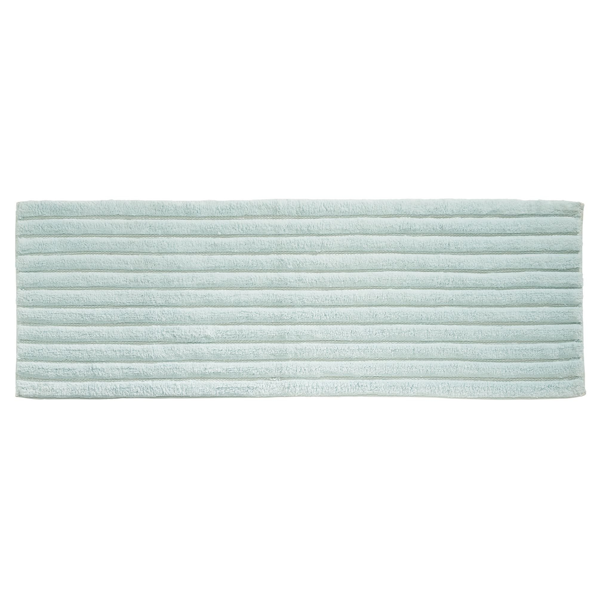 mDesign Soft 100% Cotton Luxury Hotel-Style Rectangular Spa Mat Rug, Plush Water Absorbent, Ribbed Design - for Bathroom Vanity, Bathtub/Shower, Machine Washable - Long Runner, 60'' x 21'', Water Blue