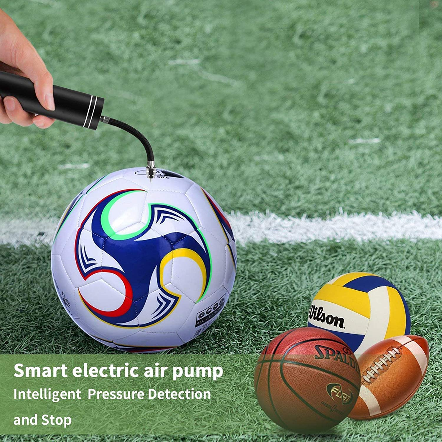 PUMP FAST Automatic ELECTRIC  Air Needle Nozzle AND Infla Football Basketball
