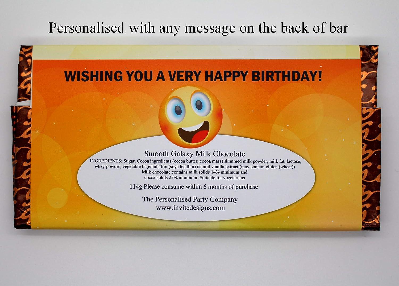 Personalised Emoji Happy Birthday 114g Milk Chocolate Bar 10th 13th 16th 18th 21st 30th 40th