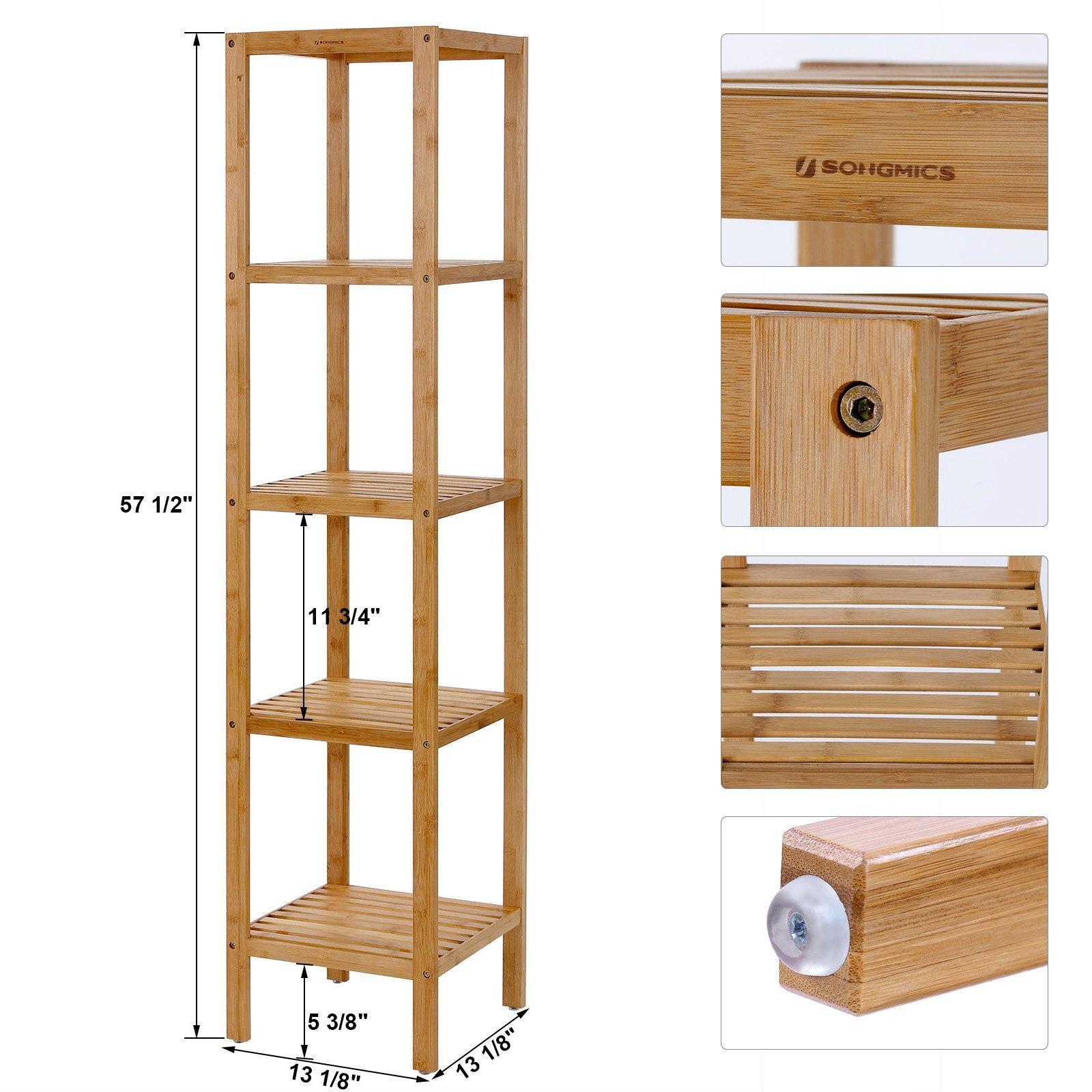 SONGMICS Narrow Shelving Unit Bathroom Shelf 5-Tier Multifunctional Storage 100% Bamboo Wood Corner Rack for Kitchen Livingroom Bedroom UBCB55Y by SONGMICS (Image #5)
