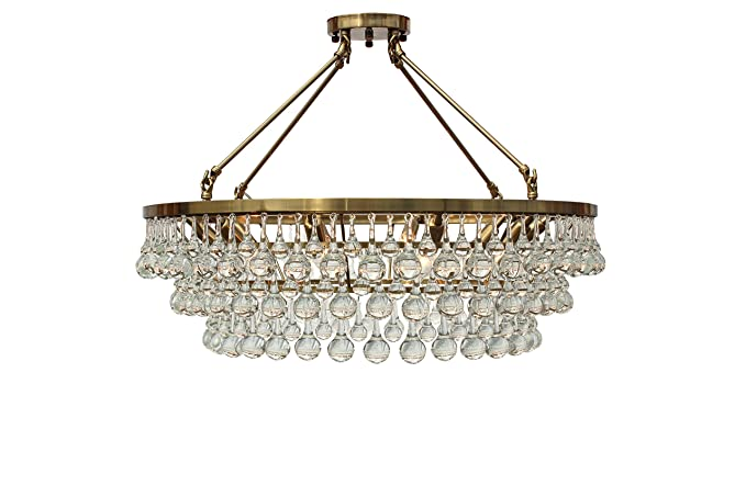 Celeste Flush Mount Glass Drop Crystal Chandelier Brass