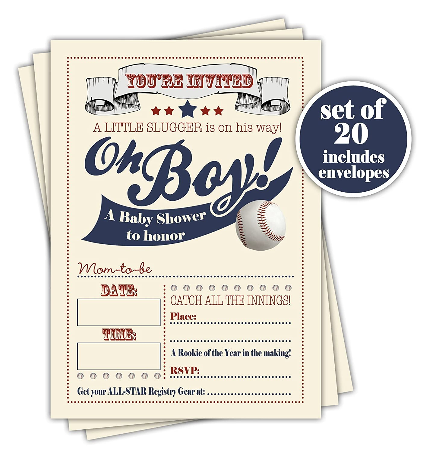 Baseball Baby Shower Invitation - Set of 20 with envelopes
