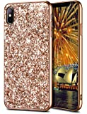 WOLLONY iPhone Xs Max Case,Ultra Slim iPhone Xs Max Bling Shiny Glitter Case for Girl Hybrid TPU Shock-Absorption Bumper Sparkle Hard Back Cover for iPhone Xs Max 6.5inch 2018 - Champagne
