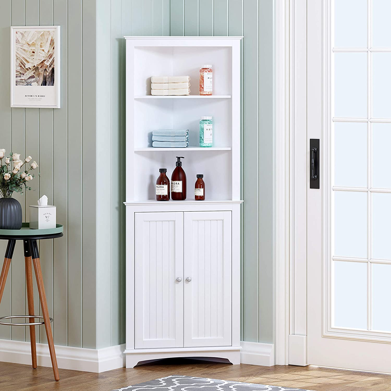 Spirich Home Tall Corner Cabinet with Two Doors and Three Tier Shelves, Free Standing Corner Storage Cabinet for Bathroom, Kitchen, Living Room or Bedroom, White