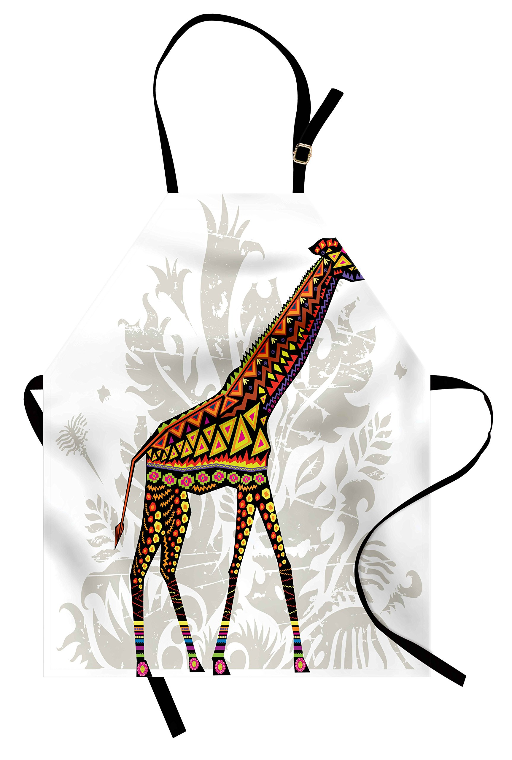 Ambesonne Batik Apron, African Savannah Animal Giraffe with Ethnic Ornament Patterns on Body Creature Print, Unisex Kitchen Bib Apron with Adjustable Neck for Cooking Baking Gardening, Multicolor by Ambesonne