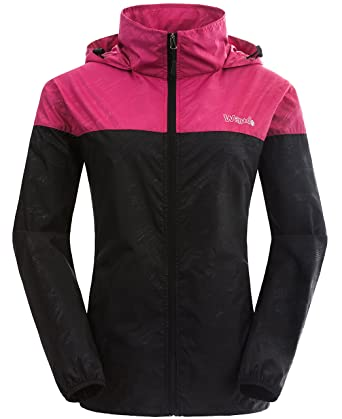 24cae4ddca86 Wantdo Women s Packable UV Protect Quick Dry Outdoor Windproof Lightweight  Skin Jacket Rose Red Black US