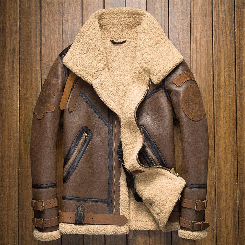 79bb10c185b3 Denny Dora B3 Shearling Leather Jacket Mens Shearling Coat Crack Texture  Pilot Leather Jacket  Amazon.co.uk  Clothing